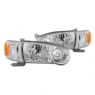 Spyder® - Chrome Factory Style Headlights with Amber Corner Lights
