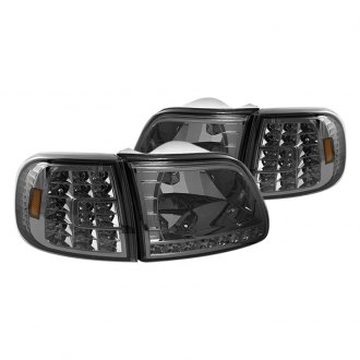 Spyder® - Chrome/Smoke Euro Headlights with LED Corner Lights