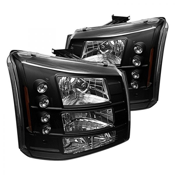 Spyder Chevy Silverado 2004 Black Conversion Euro Headlights With Leds