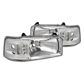 Spyder® - Chrome Euro Headlights with Parking LEDs