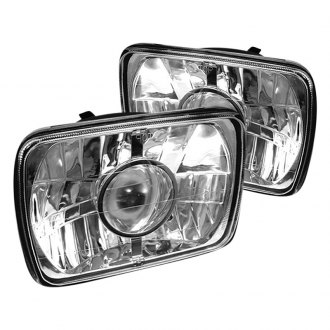 "Spyder® - 7x6"" Rectangular Chrome Projector Headlights"
