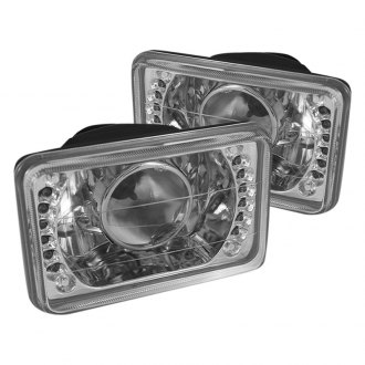 "Spyder® - 4x6"" Rectangular Chrome Projector Headlights with LEDs Off-Road Use Only"
