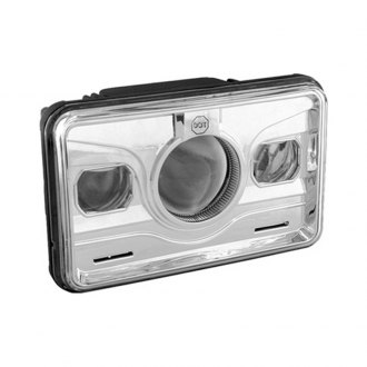 "Spyder® - 4x6"" Rectangular Chrome Projector Headlight with LEDs Off-Road Use Only"
