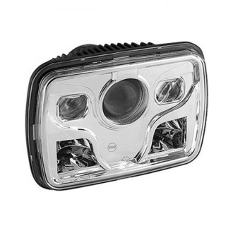 "Spyder® - 7x6"" Rectangular Chrome Projector LED Headlight"