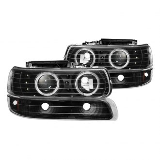 Spyder® - Black Halo Projector LED Headlights with Bumper Lights