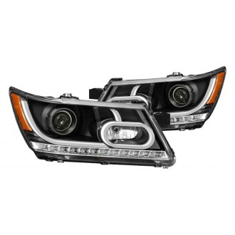 Spyder® - Black DRL Bar Halo Projector Headlights with LED Turn Signal