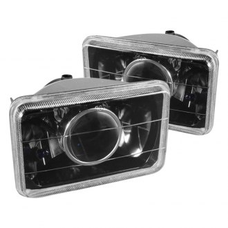 "Spyder® - 4x6"" Rectangular Black Projector Headlights Off-Road Use Only"
