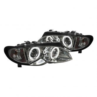 Spyder® - Chrome/Smoke Halo Projector LED Headlights with Amber Reflectors