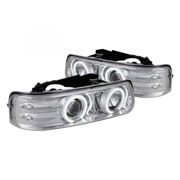 spyder chevy silverado 1500 2500 3500 2001 2002 chrome halo projector led headlights. Black Bedroom Furniture Sets. Home Design Ideas