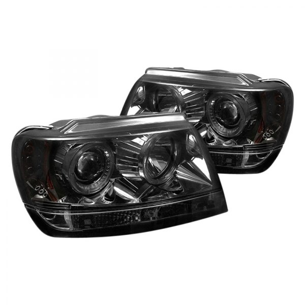spyder jeep grand cherokee 2002 chrome smoke halo projector led headlights. Black Bedroom Furniture Sets. Home Design Ideas
