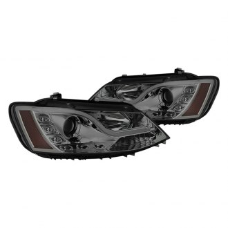 Spyder® - Chrome/Smoke DRL Bar Projector Headlights with Parking LEDs