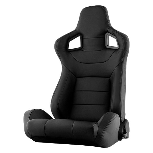 Spyder® - SCS Series Driver Side Racing Seat, Black Leatherette
