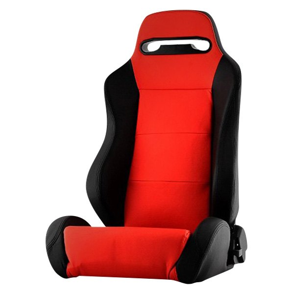 Spyder® - Thunder Series Driver Side Racing Seat, Red with Black Leatherette