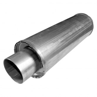 "Stainless Works® - 304 SS Vintage Round Polished Muffler (2.5"" ID, 24"" Length)"