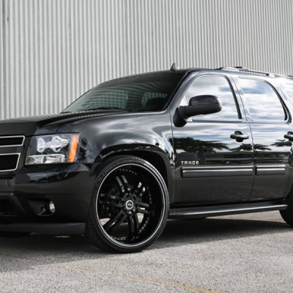 STATUS® - KNIGHT Black with Machined Stripe on Chevy Tahoe