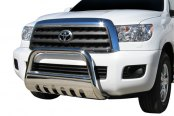 "Image may not reflect your exact vehicle! SteelCraft® - 3"" Polished Bull Bar with Skid Plate Installed"