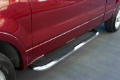 "SteelCraft® - 3"" Stainless Steel Round Side Bars with Black Mounting Brackets - Installed"