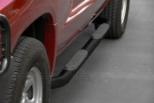"SteelCraft® - 3"" Black Powdercoat Round Side Bars with Black Mounting Brackets - Installed"