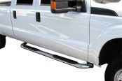 "SteelCraft® - 4"" Premium Stainless Steel Oval Side Bars with Black Mounting Brackets - Installed"