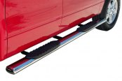 "Image may not reflect your exact vehicle! SteelCraft® - 5"" Polished Oval Straight Side Bars Installed"
