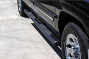 "Image may not reflect your exact vehicle! SteelCraft® - 4"" Straight Oval Black Side Bars - Installed"