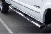 "Image may not reflect your exact vehicle! SteelCraft® - 4"" Straight Stainless Steel Oval Side Bars - Installed"