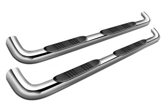 "SteelCraft® - 4"" Premium Stainless Steel Oval Side Bars with Black Mounting Brackets"