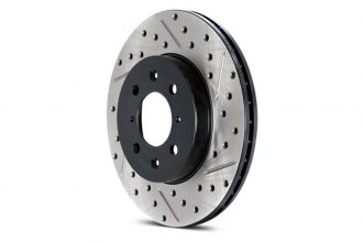 StopTech® 127.62072L - Drilled and Slotted Sport Front Driver Side Brake Rotor