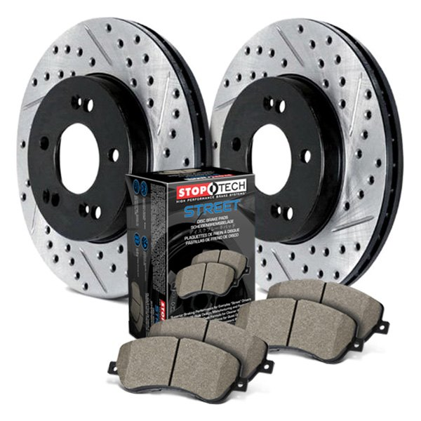 Front Stoptech 938.34050 Street Axle Pack Drilled /& Slotted