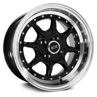 STR-RACING® - STR504 Black with Machined Lip