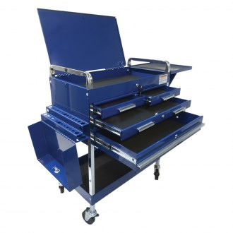sunex blue deluxe service cart with locking top 4 drawers and extra storage