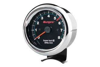 Sunpro® - Super Tach II 3-3/8 Tachometer Gauge, Chrome Bezel and Black Faceplate
