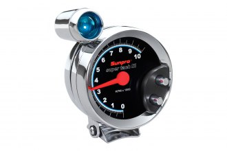 Sunpro® - Super Tach III™ 5 Tachometer Gauge with Shift Light, Chrome Bezel and Black Faceplate