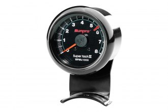 Sunpro® - Mini Super Tach II 2-5/8 Tachometer Gauge, Black Bezel and Black Faceplate