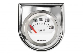 "Sunpro® CP8201 - StyleLine™ 2"" Chrome Electrical Oil / Water Temperature Gauge (100 - 280 F)"