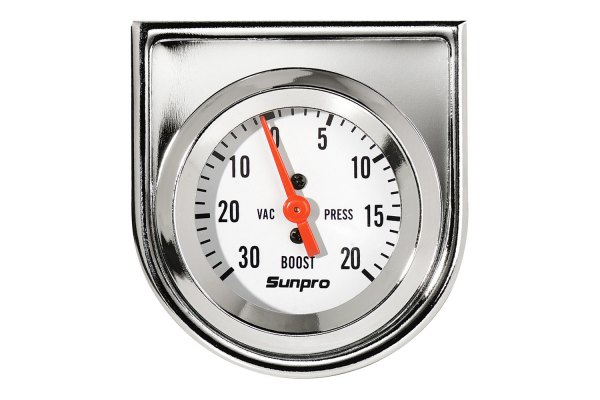 "Sunpro® - StyleLine™ 2"" Mechanical Vacuum / Boost Gauge, White Faceplate, 30"" Hg / 20 psi"