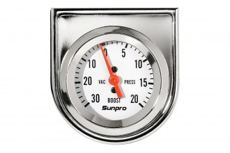 Sunpro® - StyleLine™ 2 Mechanical Vacuum / Boost Gauge, White Faceplate, 30 Hg / 20 psi