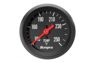 "Sunpro® CP8217 - StyleLine™ 2"" Black Mechanical Oil / Water Temperature Gauge (100 - 250 F)"