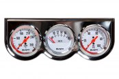 "Sunpro® - StyleLine™ 2"" Triple Gauge Kit, Chrome Panel and White Faceplate"