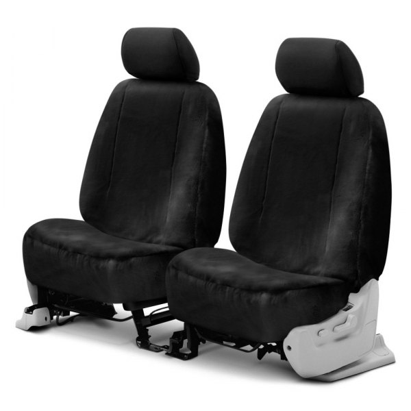 Superlamb® - Luxury Fleece Double Cap 1st Row Black Seat Covers