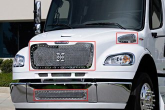 T-Rex® - 4-Pc X-Metal Series Polished Mesh Main and Bumper Grille Kit