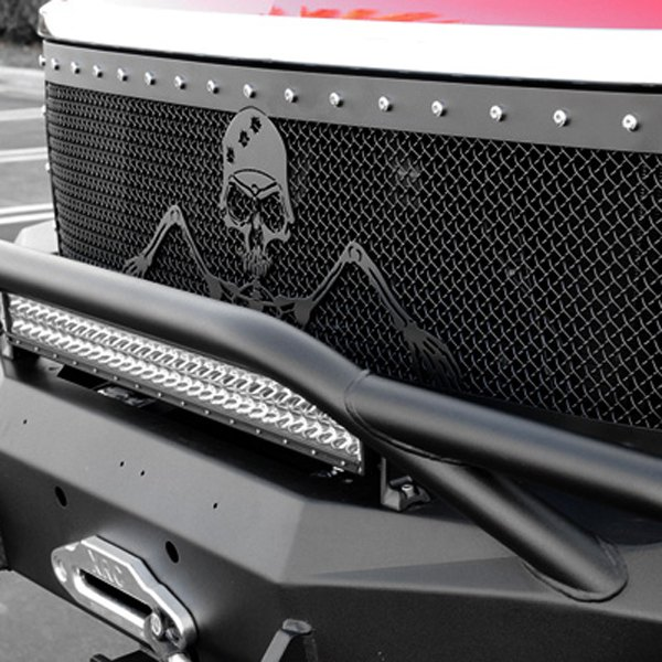"T-Rex® - 1-Pc Urban Assault ""Grunt"" Flat Black Studded Mesh Main Grille"