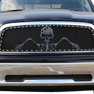 "T-Rex® - 1-Pc Urban Assault ""Grunt"" Flat Black Custom Opening Mesh Grille"