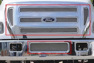 T-Rex® - 6-Pc Upper Class Series Polished Mesh Main and Bumper Grille Kit