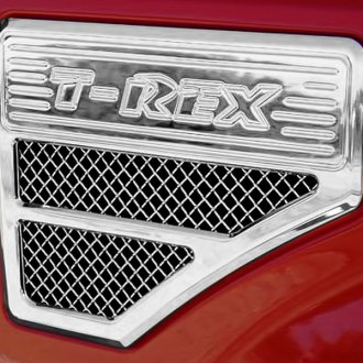 T-Rex® - 2-Pc Upper Class Series F-250 Style Chrome Mesh Side Vent Grilles