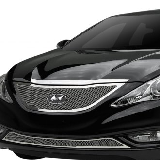 hyundai sonata 2013 black. trex 1pc upper class series polished formed mesh grille hyundai sonata 2013 black