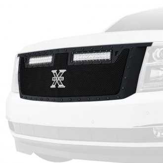 "T-Rex® - 1-Pc Stealth Torch Series Black Formed Mesh Grille with 2 x 12"" LED Light Bars"