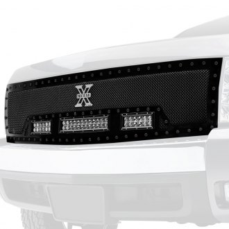 "T-Rex® - 1-Pc Stealth Torch Series Black Formed Mesh Grille with 1 x 12"" and 2 x 6"" LED Light Bars"