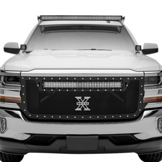 "T-Rex® - 1-Pc Torch Series Black Formed Mesh Grille with 1 x 30"" Top Frame Mounted LED Light Bar"