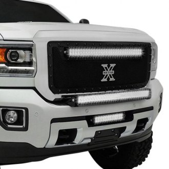 "T-Rex® - 1-Pc Stealth Torch Series Black Formed Mesh Grille with 1 x 30"" Top Frame Mounted LED Light Bar"